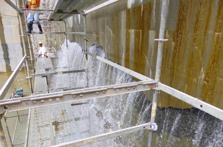 Photo dated August 25, 2015 showing water leaking through cracks in the concrete of the new Cocoli Locks complex, located on the Pacific side of the Panama Canal.