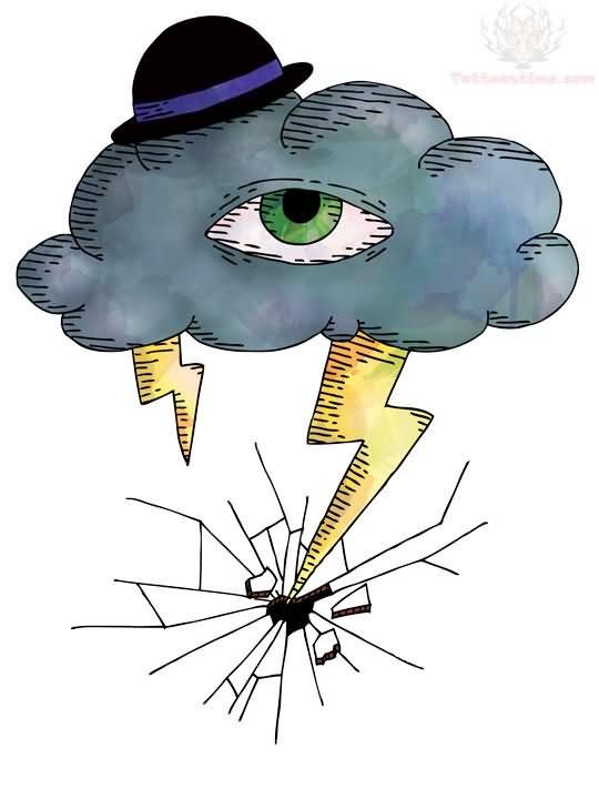 Eye Cloud Storm Tattoo Design