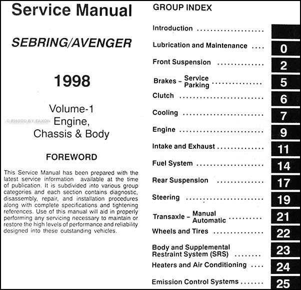 1998 Chrysler Sebring Dodge Avenger Repair Shop Manual ...