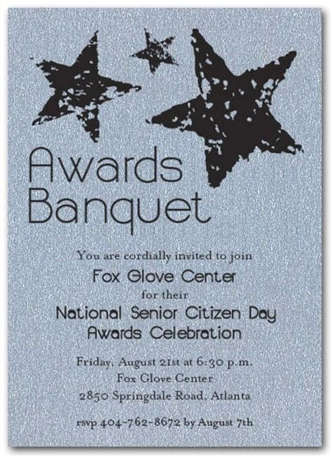 Stars on Silver Sparkle Business Awards Invitations