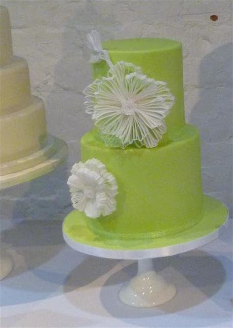 Bright Green 2 Tier Cylindrical Wedding Cake