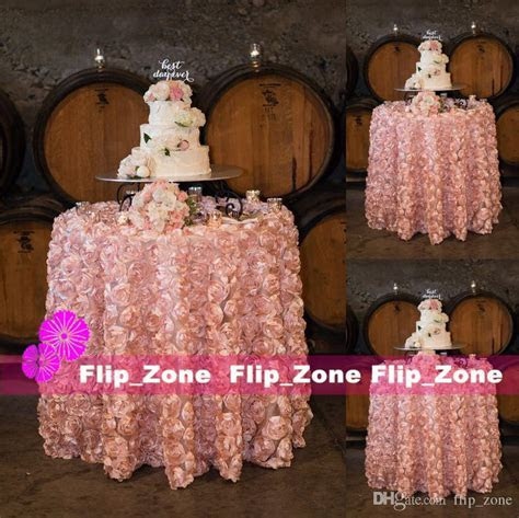 Blush Pink 3D Rose Flowers Table Cloth For Wedding Party