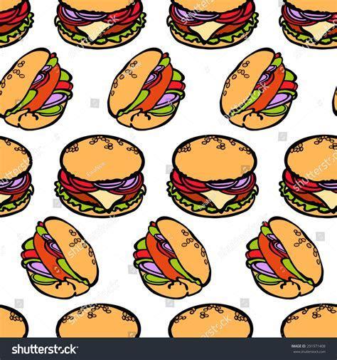 Burger Sandwich Fast Food Background Vector Stock Vector