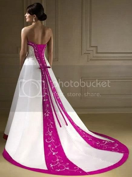 wedding dress is very beautiful and attractive color combination of cloth wrapped in pink and white