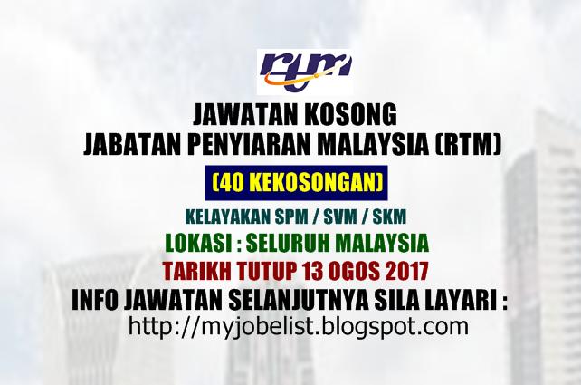 Jawatan Kosong fi Jabatan Penyiaran Malaysia (RTM) Ogos 2017