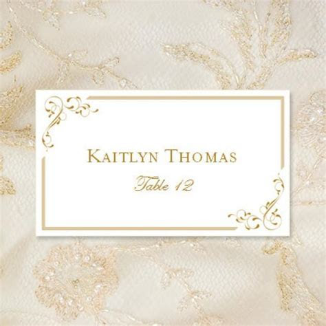 "Printable Place Cards ""Elegance"" In Gold Editable Word.doc"
