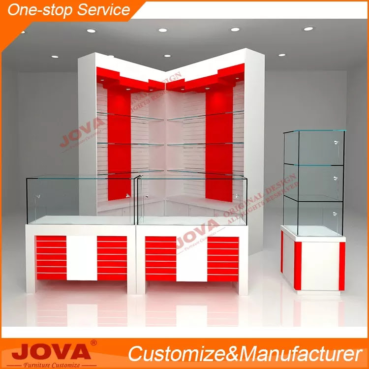 Modern Mdf And Glass Mobile Shop Counter Design With Several
