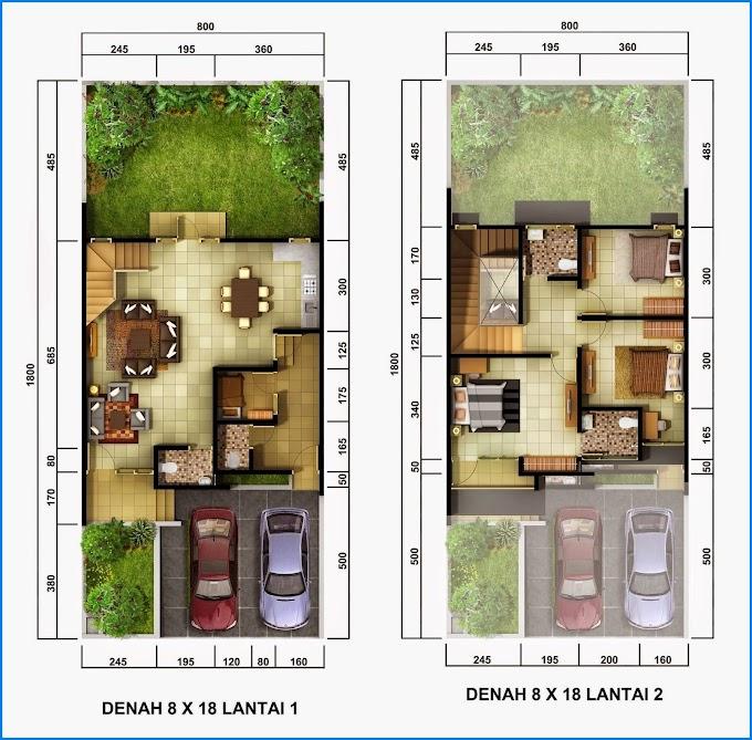 Denah Rumah Minimalis 2 Lantai 8x16 | Ide Rumah Minimalis