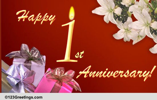 Happy 1st Anniversary Free Milestones Ecards Greeting Cards 123