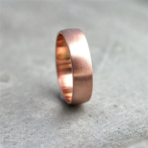 Wide Rose Gold Men's Wedding Band Recycled 14k Rose Gold
