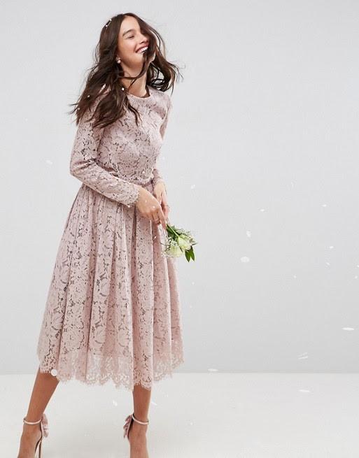 asos  asos wedding lace long sleeve midi prom dress