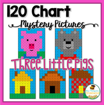 120 Chart Mystery Pictures - The Three Little Pigs Pack