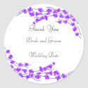 Purple Blossom Wedding Thank You Sticker