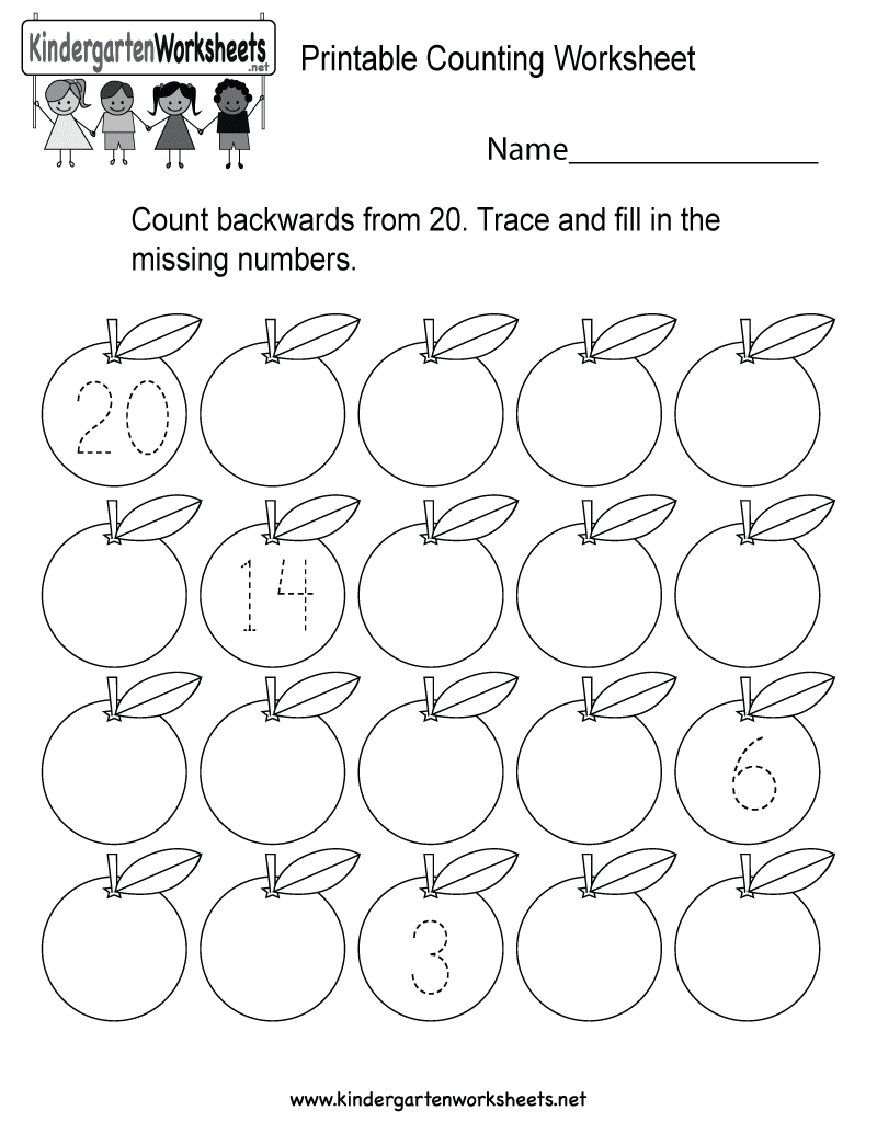 Printable Counting Worksheet  Free Kindergarten Math Worksheet for Kids