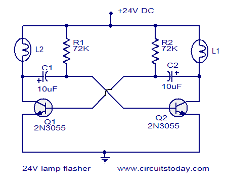 24V flasher circuit