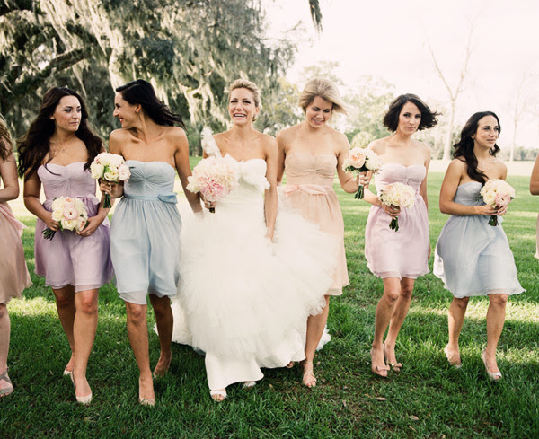 Mismatched Ice Cream Pastel Bridesmaid Dresses