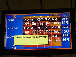{bowling with the boys} and the girl wins!