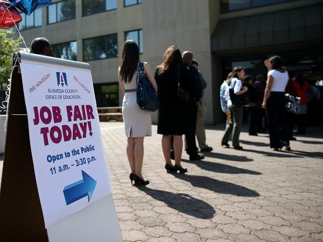 Job seekers line up to enter a job fair at the Alameda County Office of Education on April 24, 2013 in Hayward, California. Over 100 job seekers attended the annual education job fair hosted by the Alameda County Office of Education where 200 jobs were available ranging from teachers to IT professionals. (Photo by)