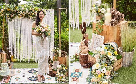 A pretty woodland themed wedding backdrop you can easily