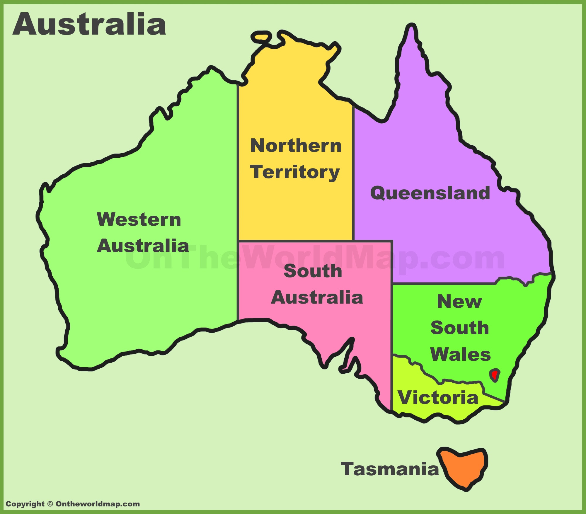 Australia States And Territories Map List Of Australia