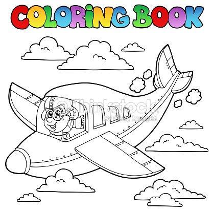 Libro Para Colorear Con Dibujos Animados De Piloto Arte Vectorial