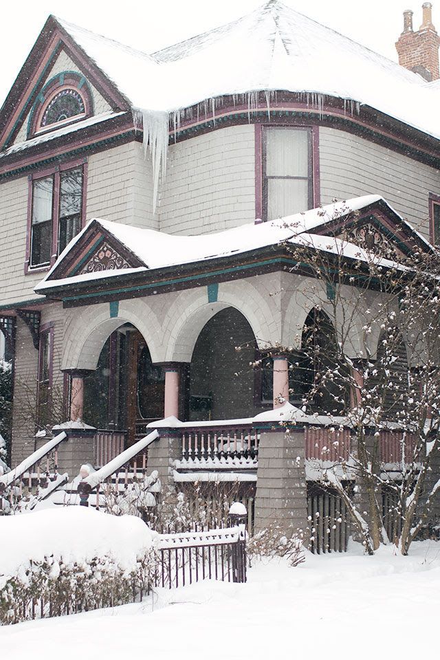 Snowy Victorian House