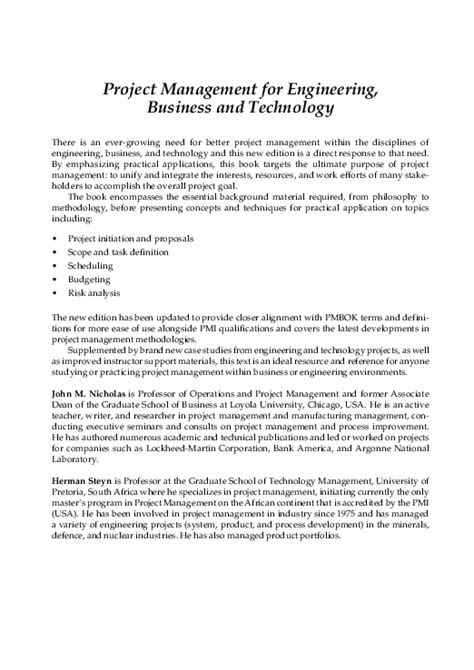 (PDF) Project Management for Engineering, Business, and