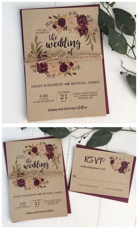 Rustic wedding invitation. Marsala wedding invitation
