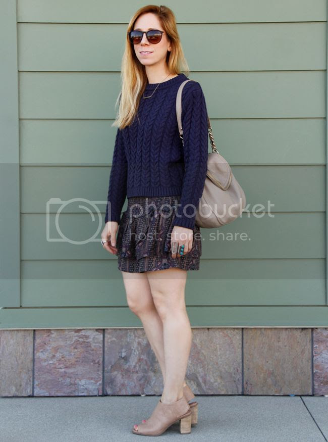 Cotton On cable knit sweater with Forever 21 boho babe skirt, Kate Spade Cobble Hill Penny bag and Mossimo Kacie boots in blush