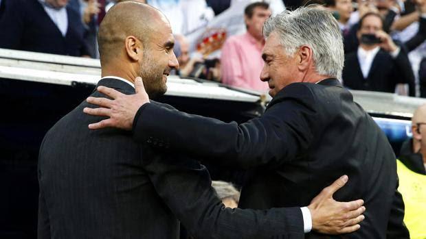 Pep Guardiola, 43 anni, e Carlo Ancelotti, 54. Ansa