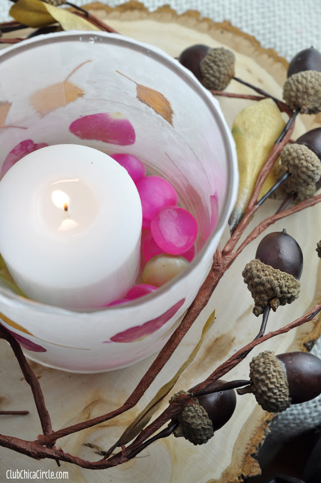 Wax paper homemade Nature Votives DIY