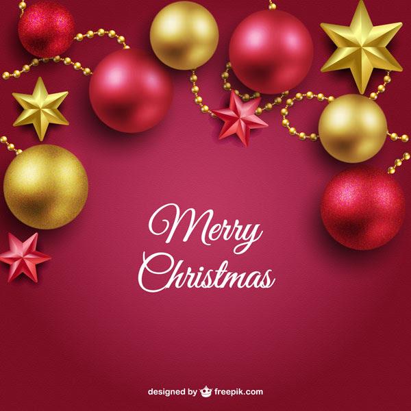 フリー素材 星飾りとクリスマスボールでデザインしたクリスマスカード