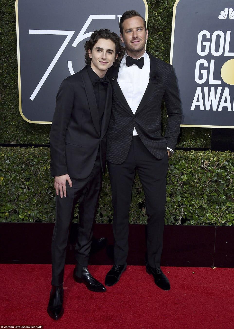 Aclamado: Me chame por seu nome Atores Timothee Chalamet, 22 e co-estrela Armie Hammer, 31, comemoraram suas nomeações para o Melhor Ator e Melhor Ator Coadjuvante em um filme dramático no tapete vermelho