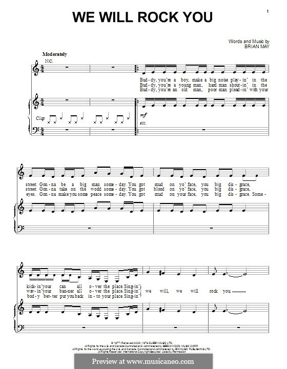 We Will Rock You (Queen) by B. May - sheet music on MusicaNeo