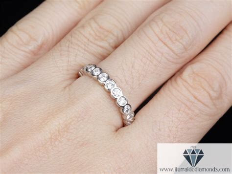 Full Eternity Bezel Set Diamond Wedding Band or Ring 14k