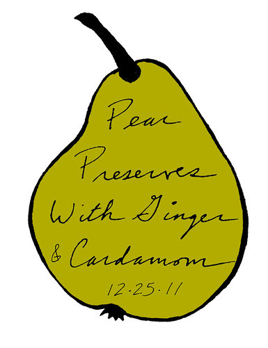 Hand-drawn Pear Preserves Label by Eve Fox, The Garden of Eating blog, copyright 2011