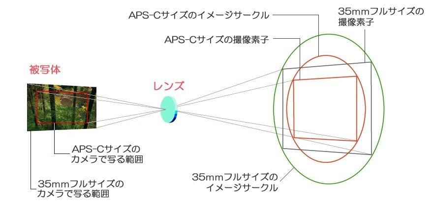 撮像素子と画角の関係 撮像素子と画角の関係を簡単解説