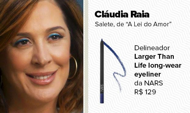O delineador azul, usado pela personagem Salete (Cláudia Raia), é o Larger Than Life long-wear eyeliner da NARS. (Foto: Sandy Bahia/EGO)