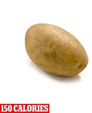 Meanwhile the potato (pictured) provides you with fiber, B vitamins and potassium