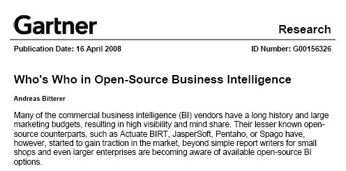 Gartner, Who is who in BI Open Source