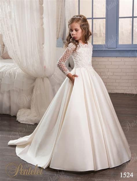 2017 Pink Ivory Flower Girl Dresses For Weddings Long