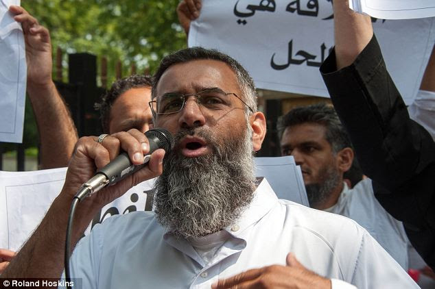 Preacher of hate: The trio are also banned from associating with controversial cleric Anjem Choudary