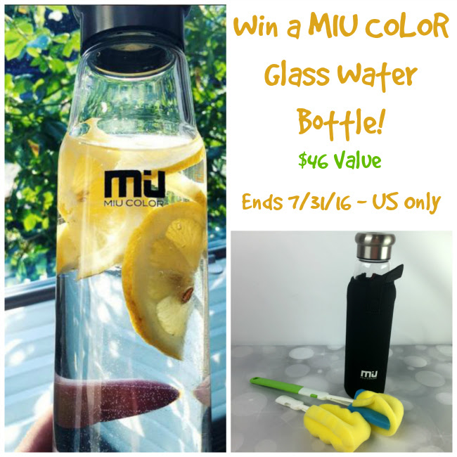 MIU COLOR Glass Water Bottle Giveaway. Ends 7/31