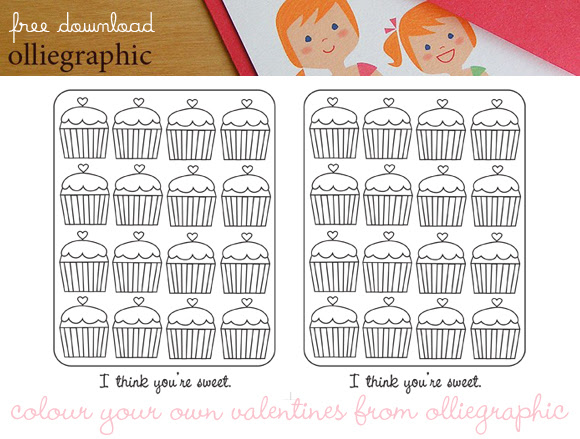 olliegraphic, free printable valentine, free download valentine, color your own valentine