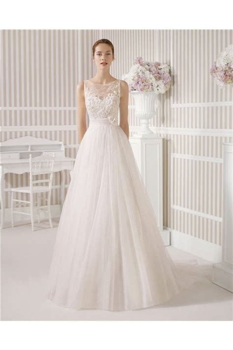 A Line Princess Illusion Boat Neck See Through Back Tulle