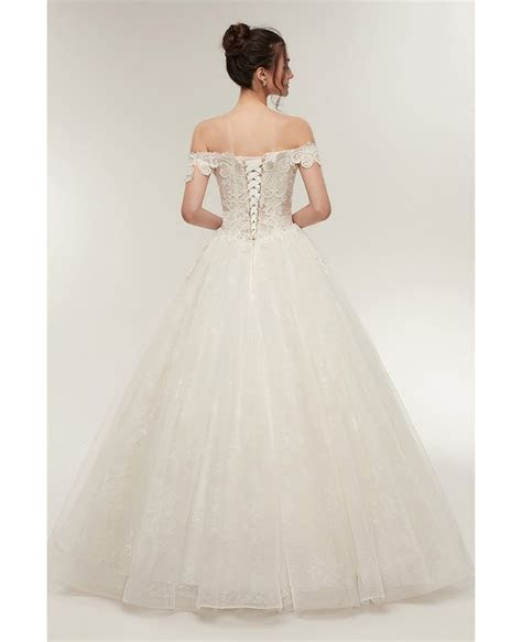 Unqiue Lace Princess Wedding Dress with Off The Shoulder