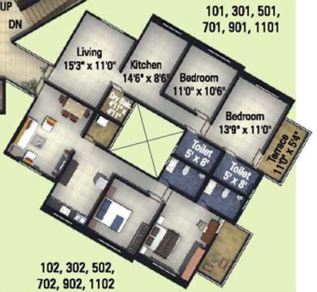 Kumar Properties Kumar Palmcrest Pisoli Pune 2 BHK Flat 705 sq.ft. Carpet Area + 58 sq.ft. Terrace on Odd Floors