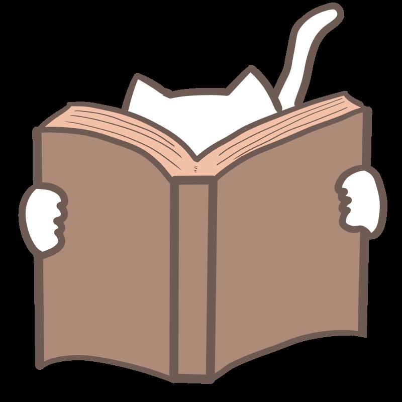 本を読む白猫のイラスト Nyan3