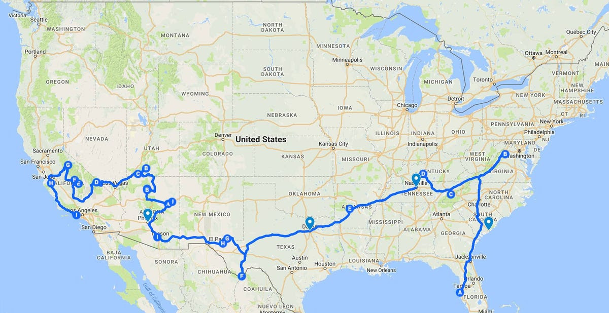 He planned his route around national parks across the US.