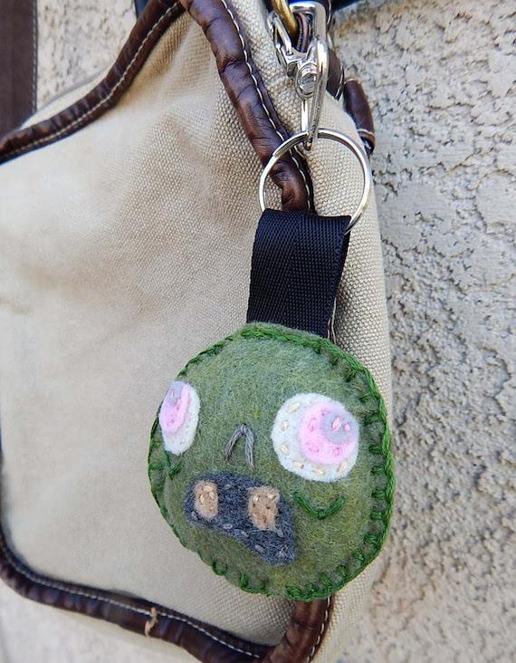 Putrid Green Zombie Head Feltie Keychain OOAK